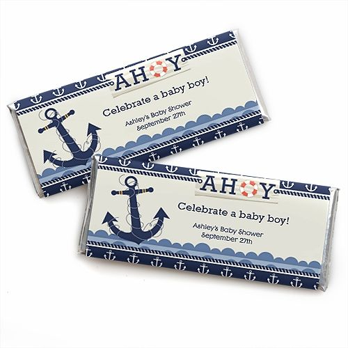 3b74ef762b05 Ahoy - Nautical - Personalized Candy Bar Wrapper Baby Shower Favors  0.99