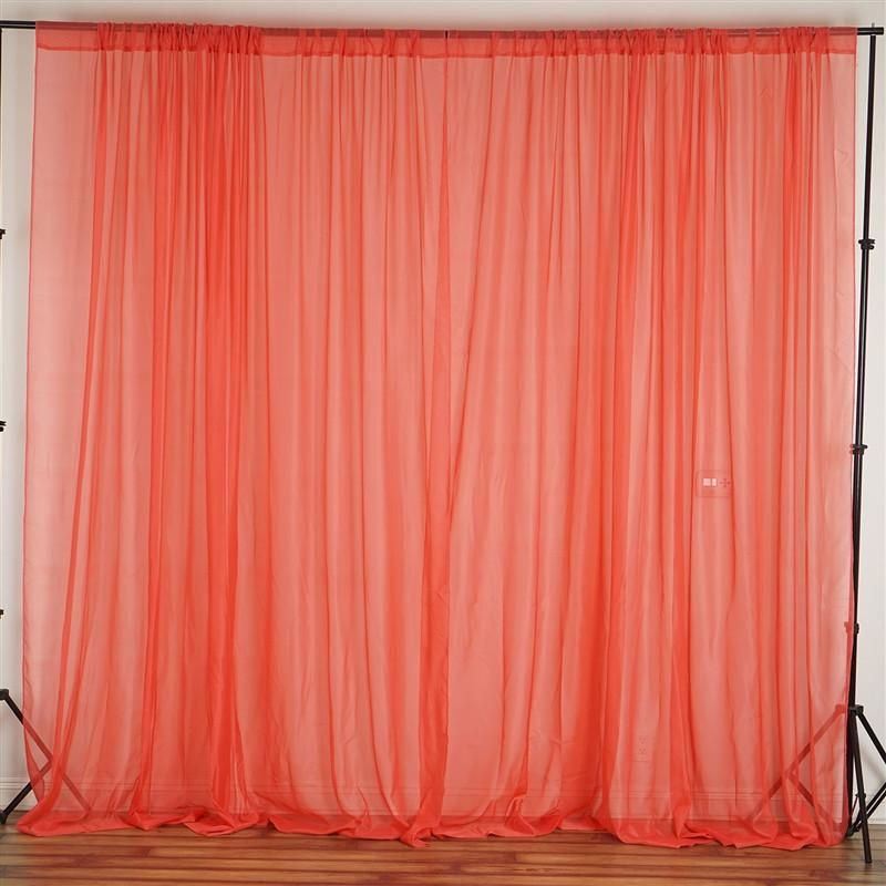 2 Pack 5ftx10ft Coral Fire Retardant Sheer Organza Premium