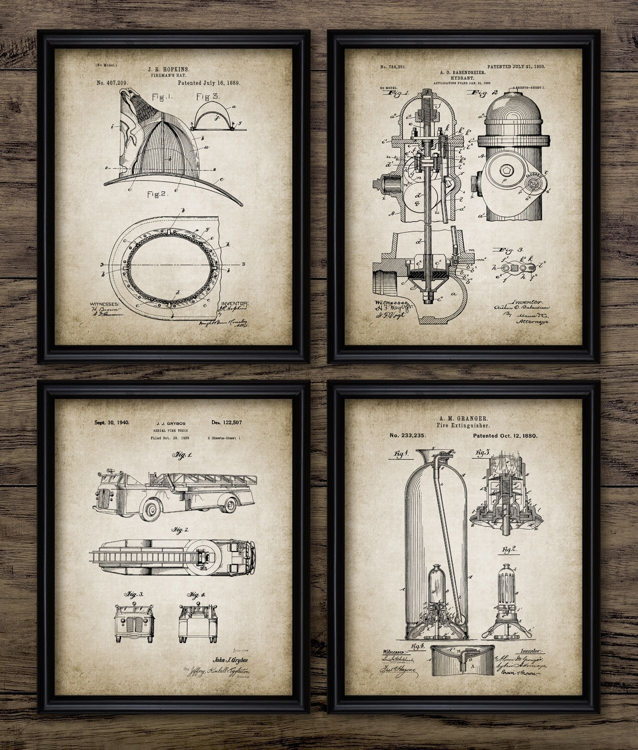 vintage firefighter patent print firefighting blueprint wall art fire rescue gift home decor  [ 1275 x 1500 Pixel ]