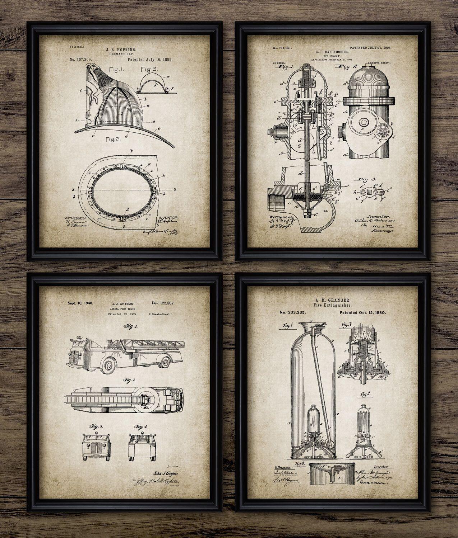 medium resolution of vintage firefighter patent print firefighting blueprint wall art fire rescue gift home decor