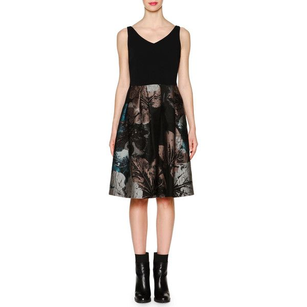Piazza Sempione Floral Jacquard Combo Dress ($1,390) ❤ liked on Polyvore featuring dresses, black multi, fit and flare cocktail dress, sleeveless dress, black floral dress, cocktail dresses and fit and flare dress