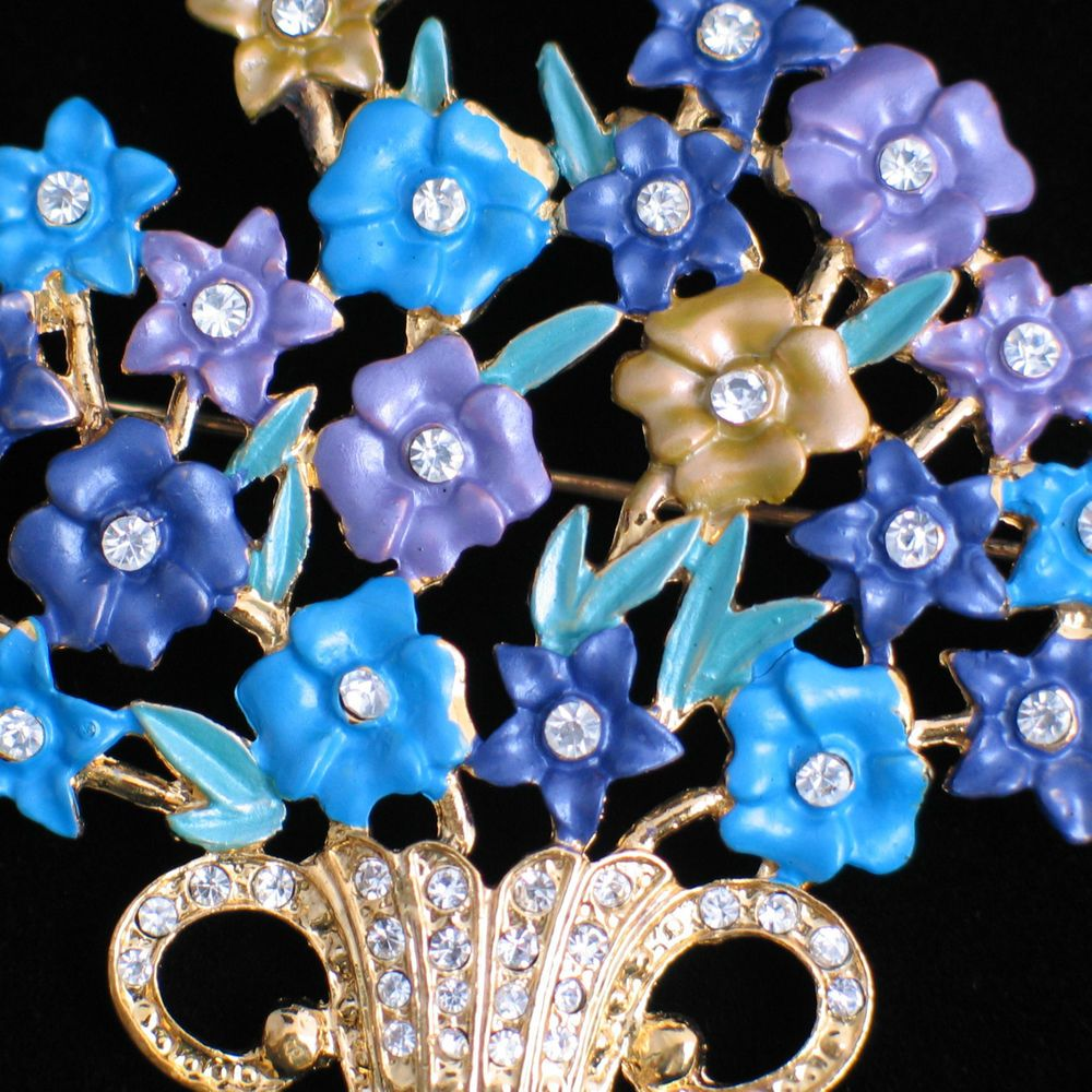 """BLUE PURPLE SPRING MOTHER'S DAY EASTER BOUQUETS FLOWER BASKET PIN BROOCH 2.5"""" #Unbranded #PINBROOCHJEWELRY"""