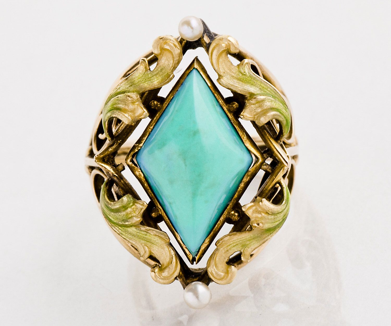 Antique Ring - Antique Art Nouveau 14k Rose Gold Turquoise and Enamel Ring by TheCopperCanary on Etsy https://www.etsy.com/listing/108201918/antique-ring-antique-art-nouveau-14k