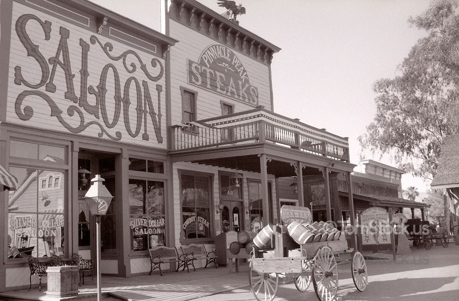 Old West Town Facade In Tucson Arizona America In White