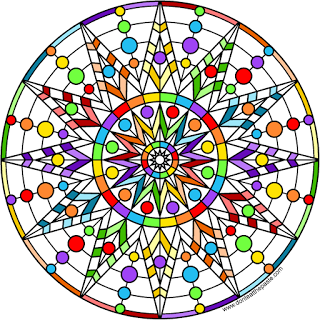 rainbow star mandala blank version available to color