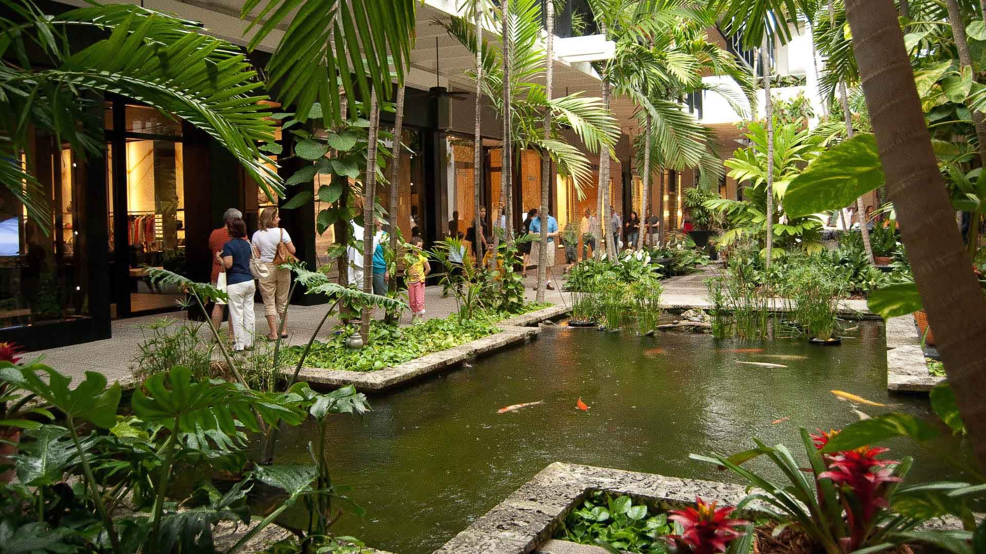Bal harbour interior tropical fish pond luxury retail for Outdoor tropical fish pond