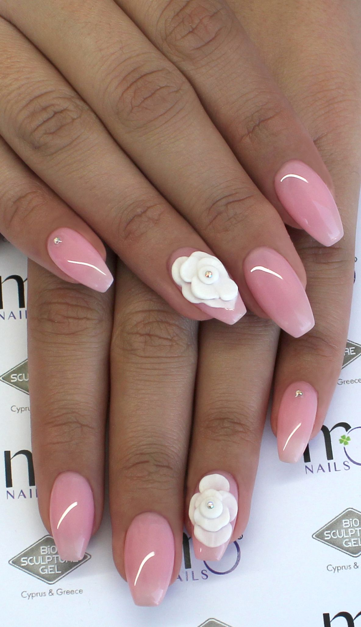 MO Nails #P1 French Rose and 3D white flowers and strass | MO Nails ...