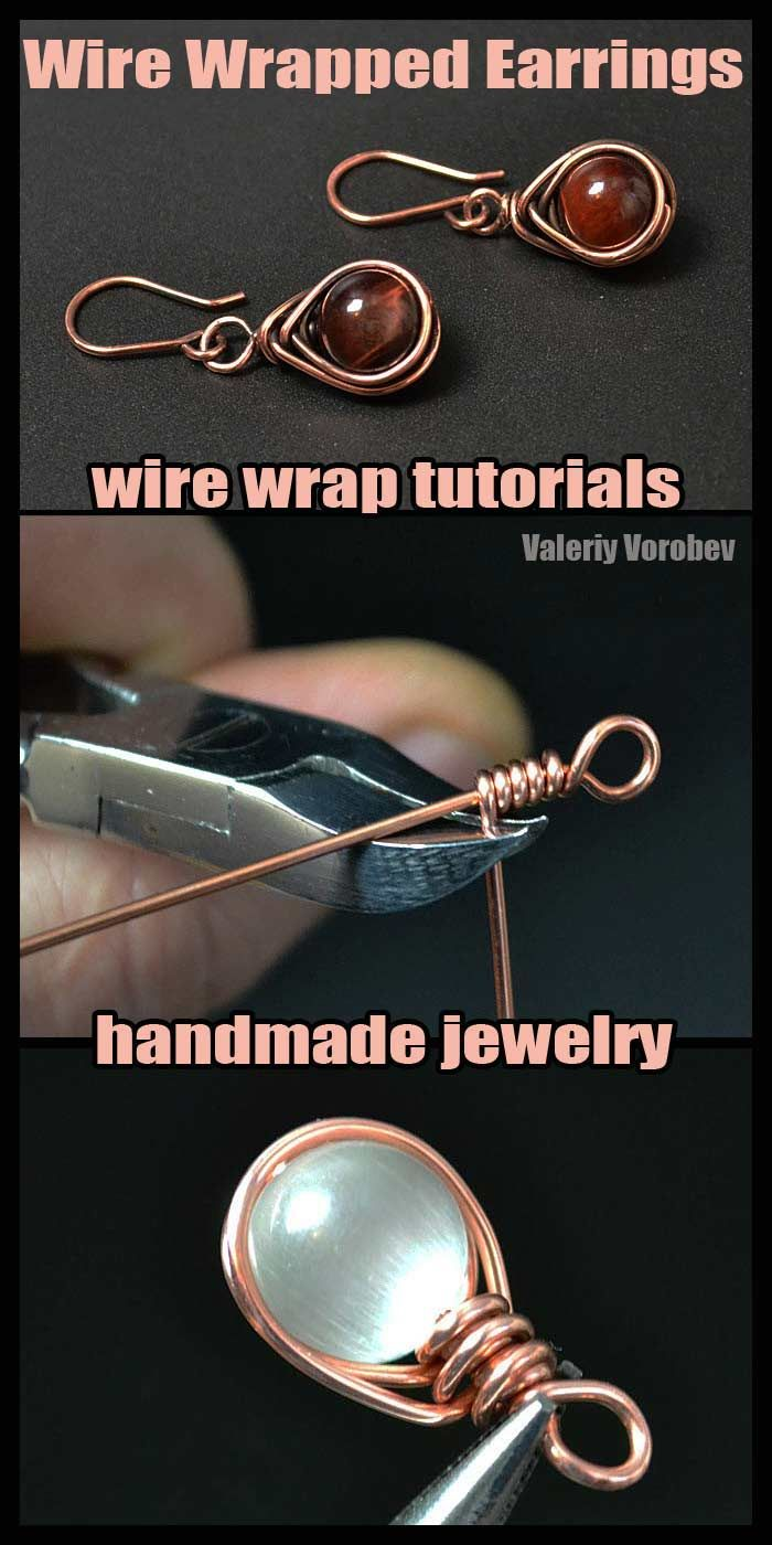 Photo of Wire wrapped jewelry. Wire wrap earrings. Wire wrap tutorial.