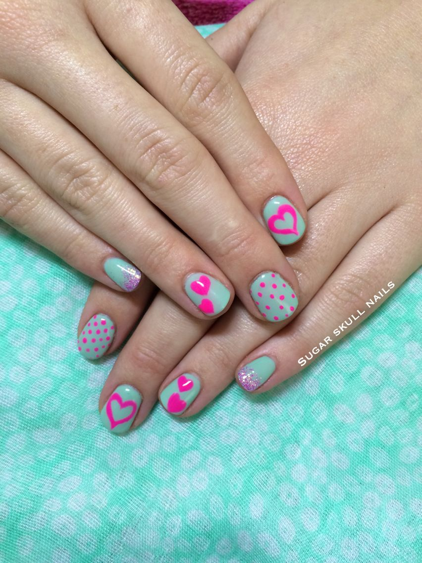 Pistachio green gel overlay with neon pink dots and hearts nailart ...