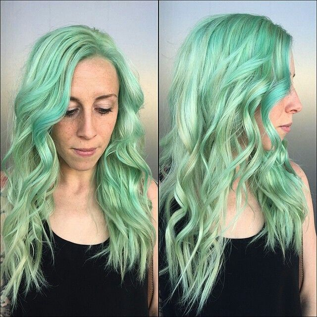 Another beautiful day behind the chair with Jill @jillenefarr! !! Ask and you shall receive!!! Mermaid Mint ... yes please!! @seasonssalonanddayspa  Using Pravana