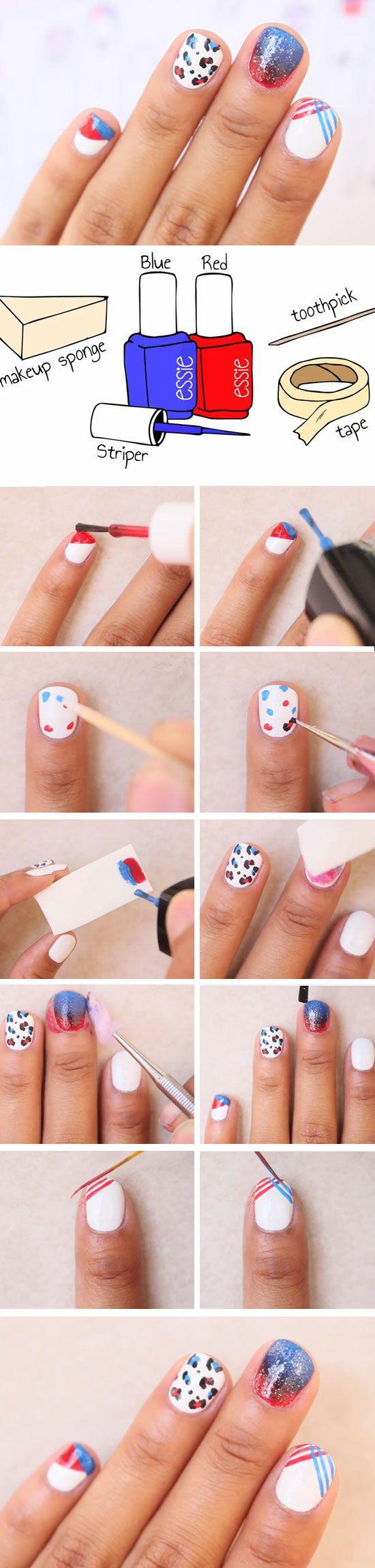 Leopard spots patriotic nail designs red white blue nails