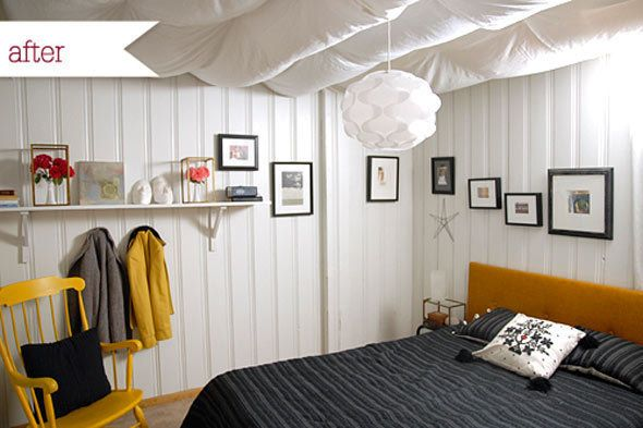A Dark Basement Bedroom Gets a Bright Makeover is part of Basement bedroom Makeover - No windows  Could you deal  We're in awe of blogger Melissa Esplin from I Still Love You who calls this woodpaneled basement bedroom home  Luckily, she had the good sense and talent (and yes, handy husband) to make the room over  After a trip to the thrift store and some serious painting, she made the space basically unrecognizable  BEFOREThis landlord's idea of  fixing  a ceiling  Stapling wood panels to it  Ick!No windows and no closet rod  Okay, we'll admit, she could do just about anything to improve this space  So we're blown away by her aboveandbeyond effort  Read about this light, bright,