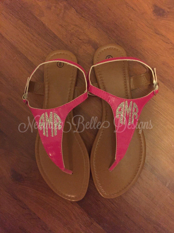 Glitter monogram sandals  by NeauxlaBelleDesigns on Etsy https://www.etsy.com/listing/223207904/glitter-monogram-sandals