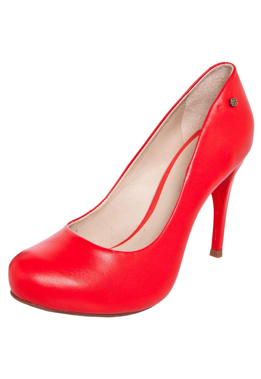 6acfacf68 Scarpin Capodarte Salto Alto Bico Redondo Vermelho - Compre Agora   Dafiti  Brasil