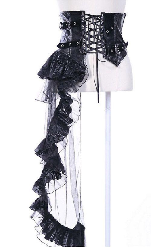 Remis en stock / Back in stock: Serre taille noir avec pan jupe asymetrique et sangle gothic visual kei  Prix: 49.90 #new #nouveau #japanattitude #underbust #corsets #serres #taille #gothique #gothic #visualkei #rock #rqbl #21107 #visual #kei #femme #noir