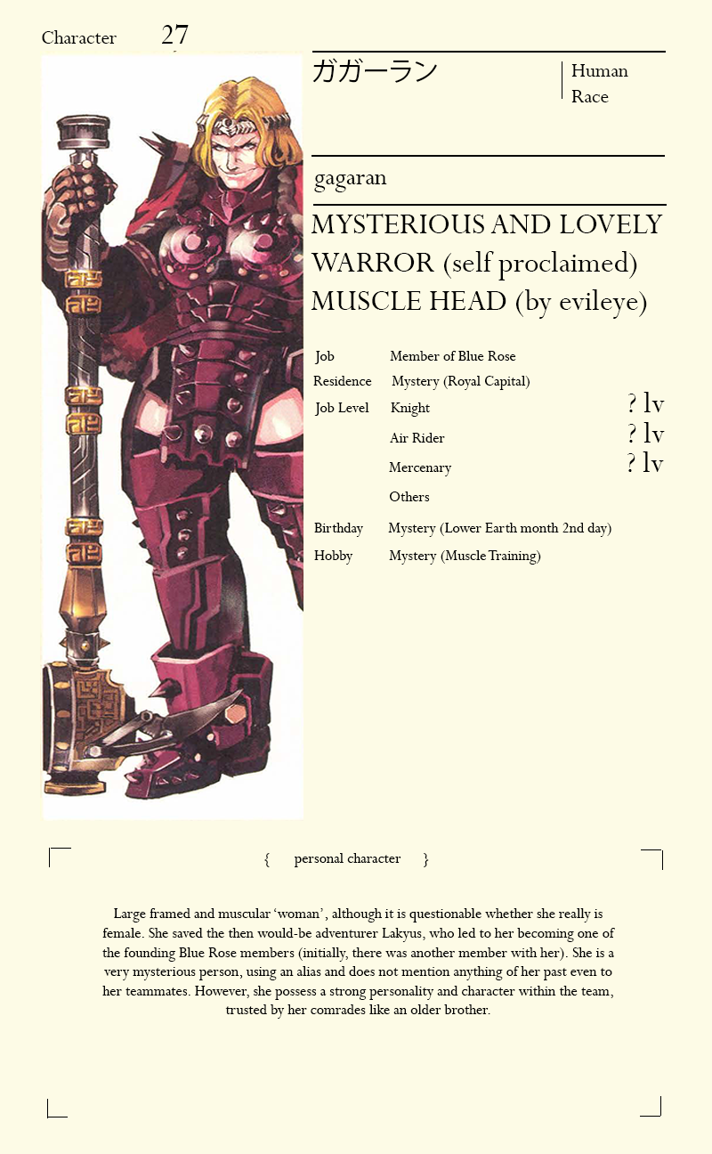Gagaran da Blue Rose   Art   Character sheet, Anime, Character
