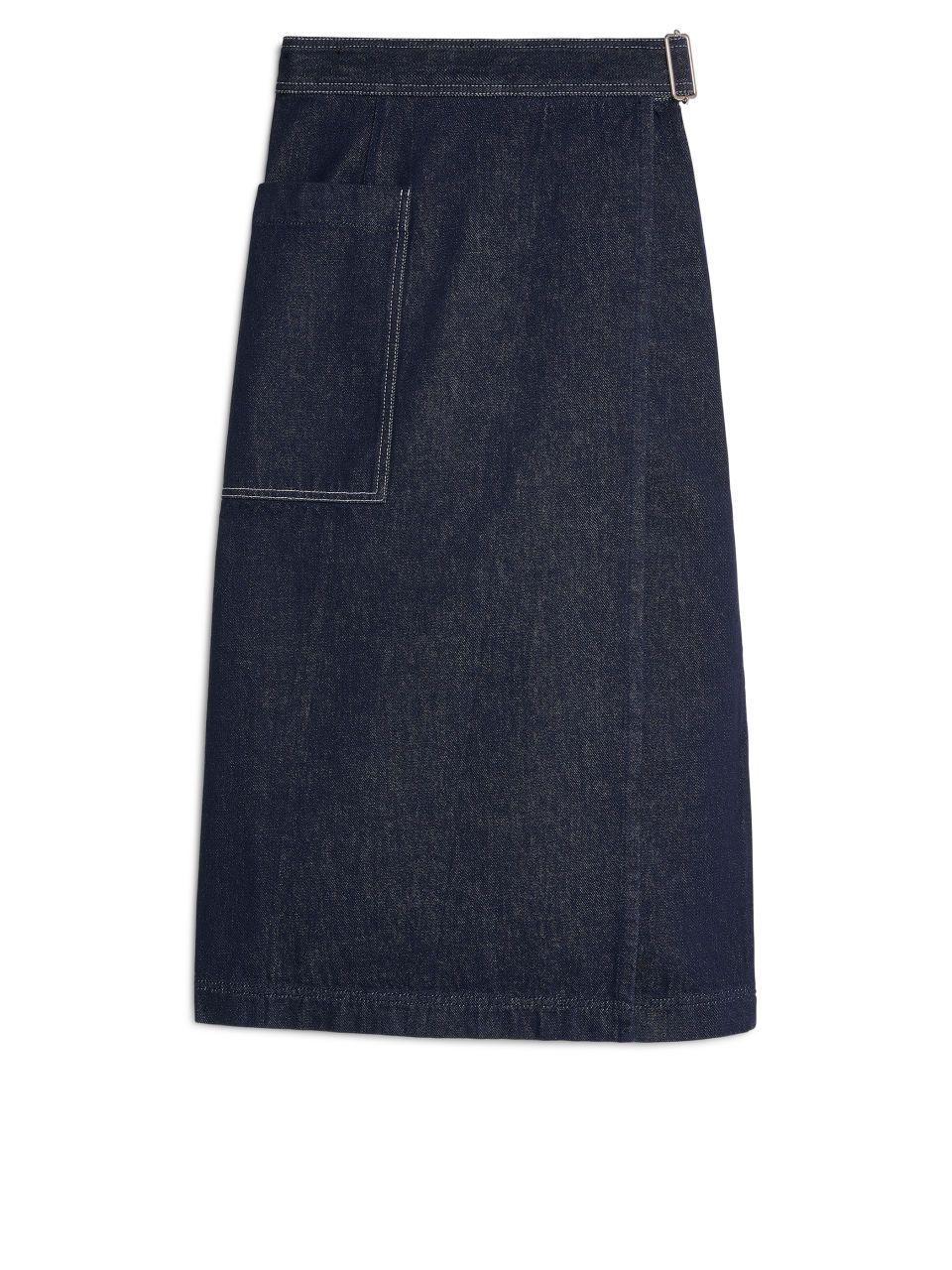 Denim Wrap Skirt Dark Blue Skirts | Denim wrap skirt