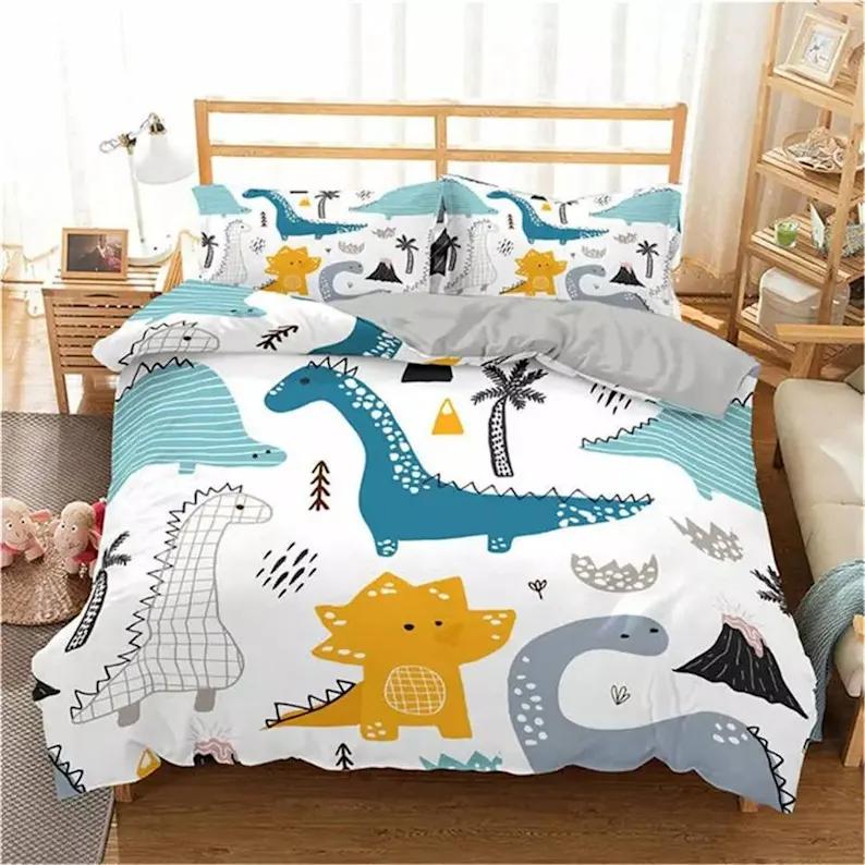 Dinosaur Single Duvet Set Kids Bedding, Full Size Bedding For Toddler Boy