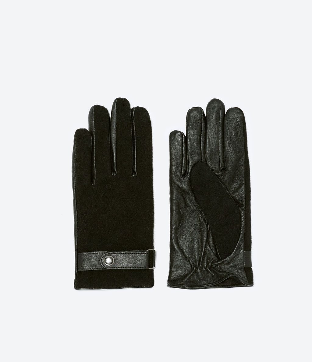 fc035f6b ZARA - MAN - LEATHER AND WOOL GLOVES | guantes | Guantes, Guantes de ...
