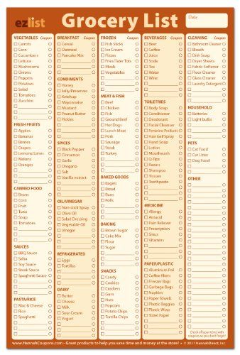 How to Create a Standardized Grocery Shopping List Pinterest