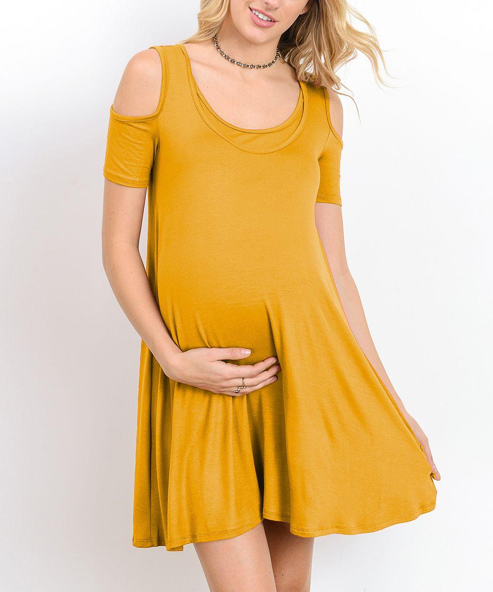447704bde23c Hello Miz Mustard Cold Shoulder Maternity Nursing Tunic