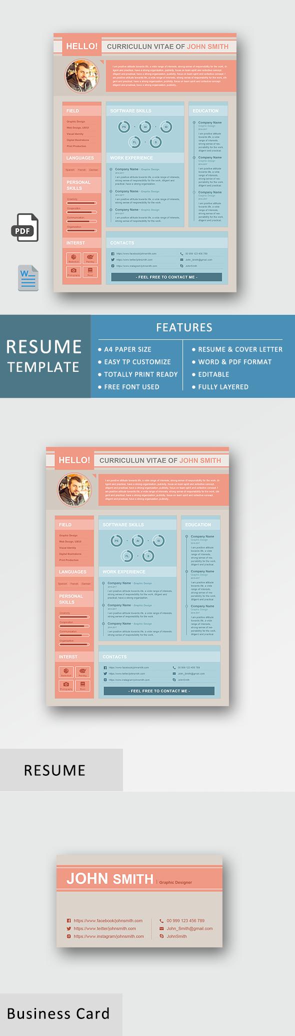 Premium Resume Template Business Set Basic Functional