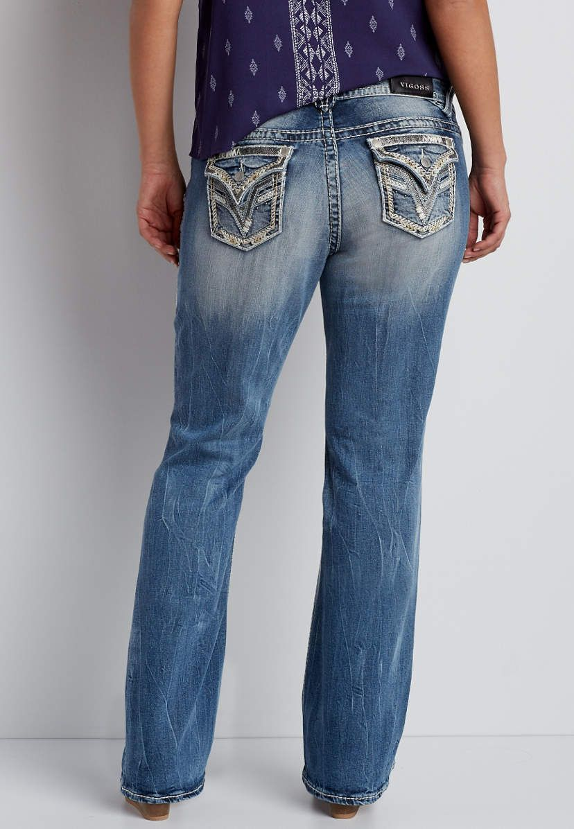 628a26b1c8a Vigoss ® plus size medium wash bootcut jeans with veining