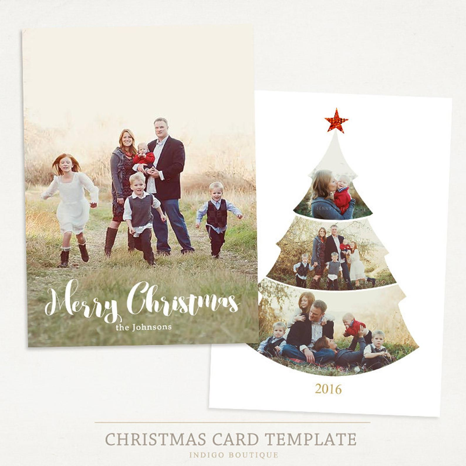 Christmas Card Template For Photographers And Personal Use Etsy Christmas Card Template Holiday Photo Cards Template Christmas Photo Card Template
