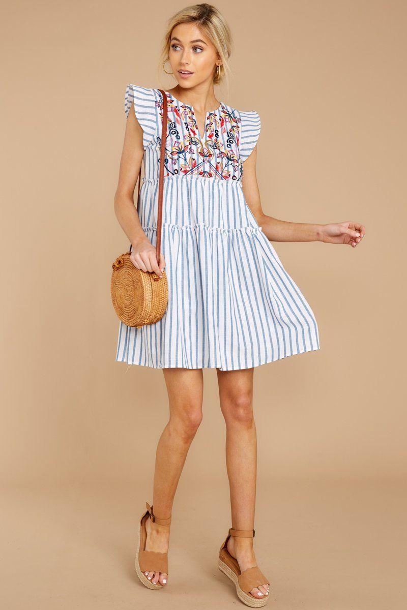 83813cec1c THML Blue Stripe Dress - Short Embroidered Sun Dress - Dress - $82.00 – Red  Dress Boutique