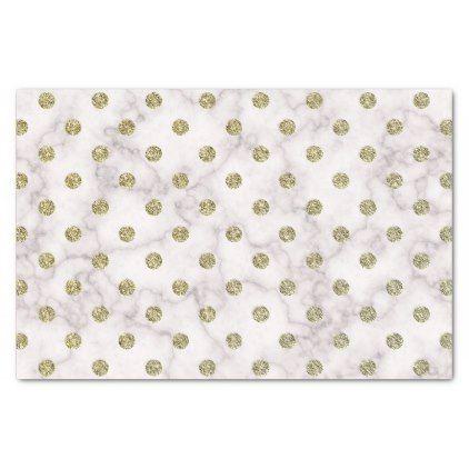 Elegant White Marble Gold Polka Dot Tissue Paper - dot paper template