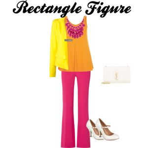 Rectangle Figure - You want to find clothing that give the illusion of curves and give a soft edge to your curves. Ex.. Tailored jackets, boot cut or flare pants,mixed colors with colorful jewelry.