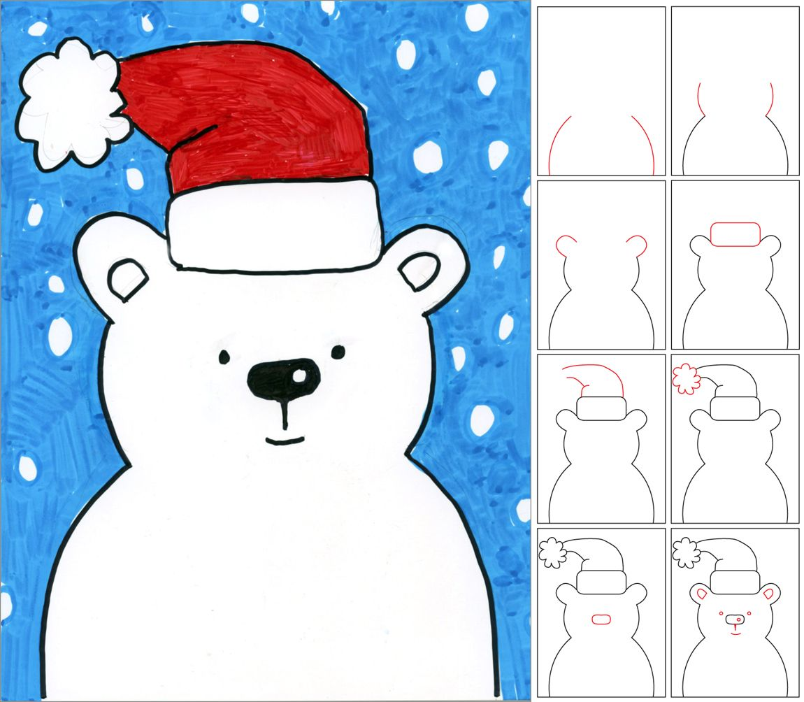 Draw A Snow Bear Christmas Drawings For KidsKids