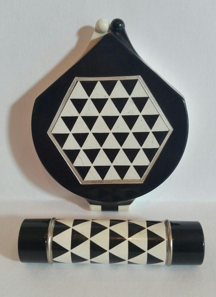 Vintage AVON ART DECO Stunning Powder Compact Lipstick Geometrical B&W. Must See