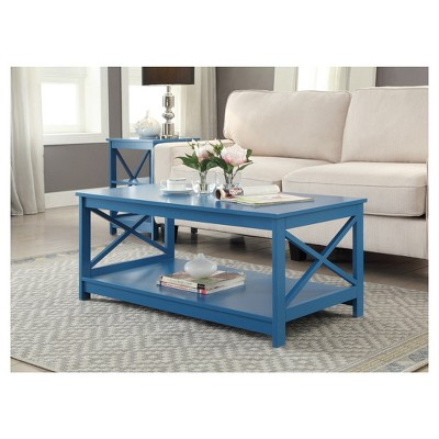 Magnificent Oxford Coffee Table Blue Convenience Concepts Blue Caraccident5 Cool Chair Designs And Ideas Caraccident5Info