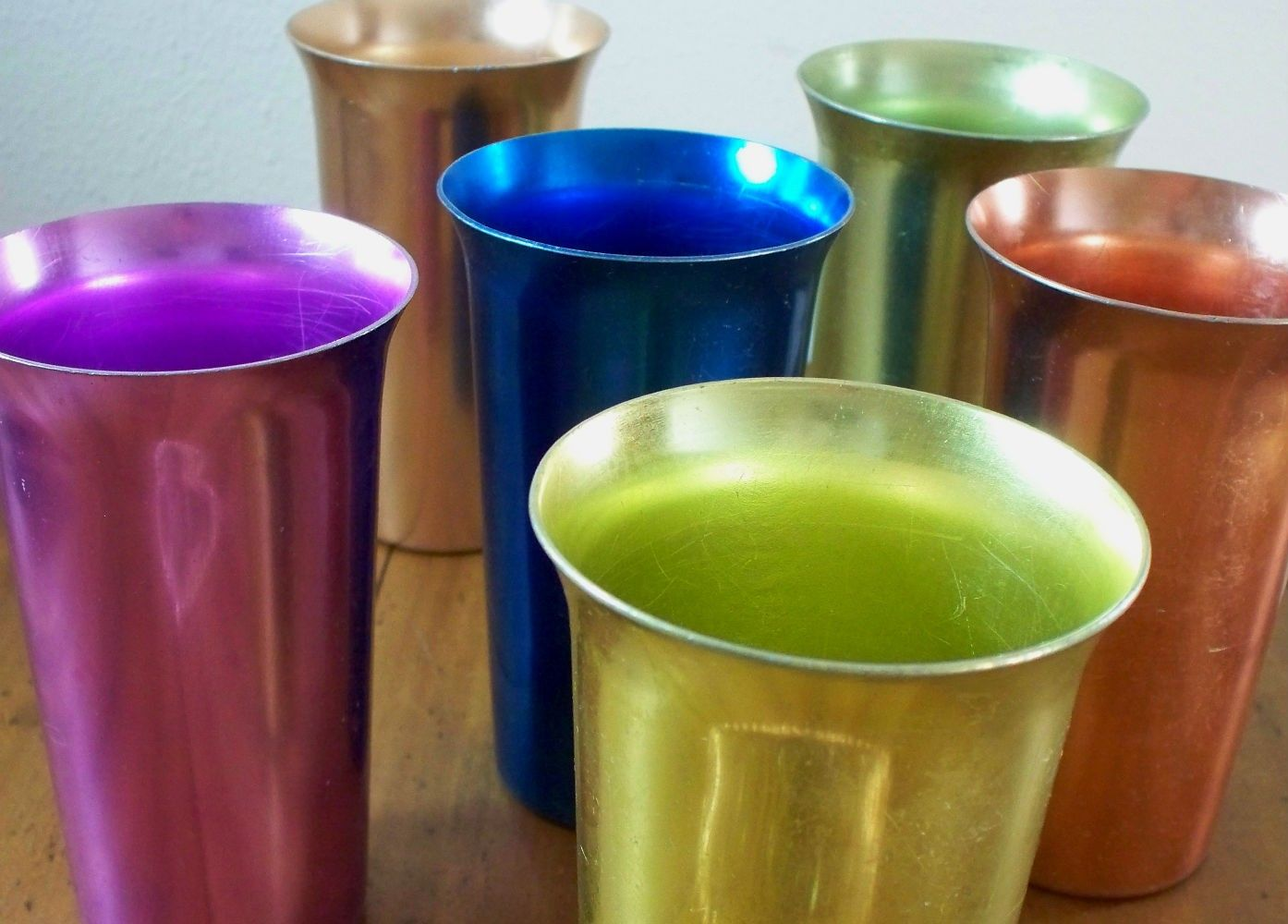 Colorful Vintage Aluminum Tumblers/ Drinking Glasses, set of 6 ...