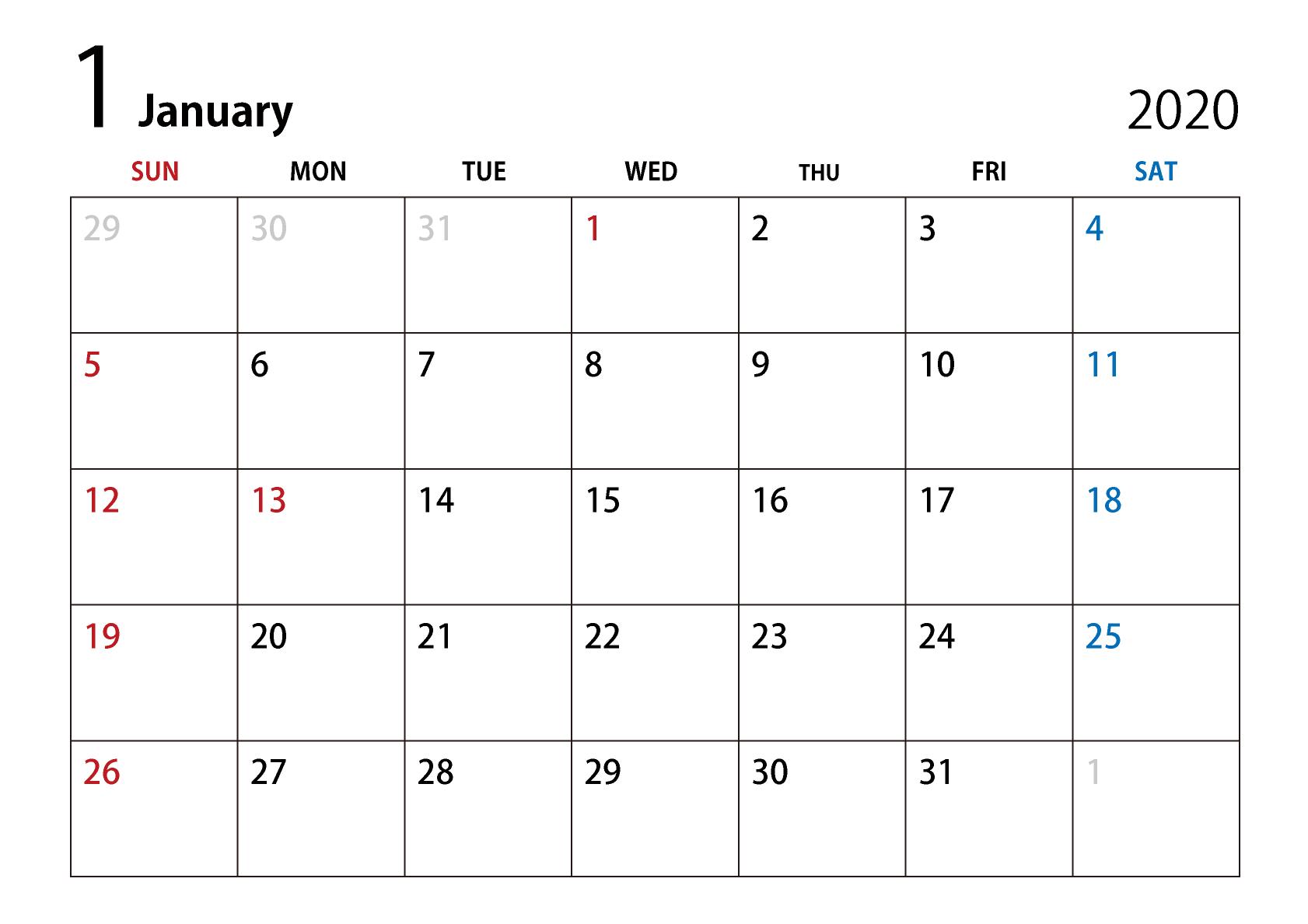 年1月カレンダーのフリーダウンロード画像 Ii カレンダー シンプル 8月 カレンダー カレンダー