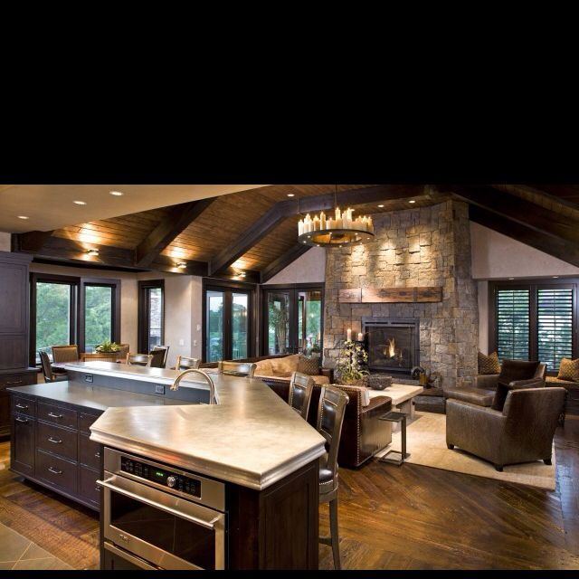 Rustic Open Plan Kitchen: Love This Open Floor Plan.