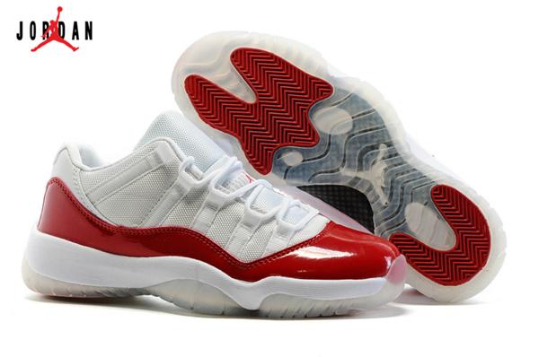 8aa9b67291a5 Grade School s Air Jordan 11 Low Basketball Shoes White Varsity Red Black  528895-102