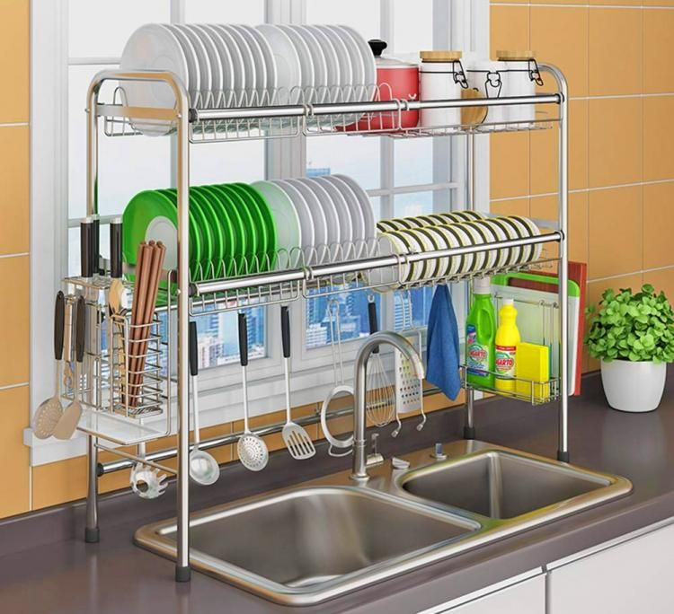 Over The Sink Dish Drying Rack And Storage Area With Images