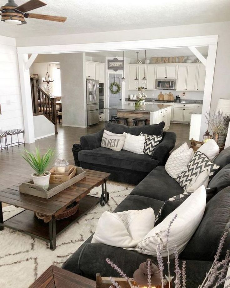 39 Rustic Farmhouse Living Room Design And Decor Ideas For Your Home Farmhousedecor Home Design Living Room Living Room Design Decor Open Concept Living Room