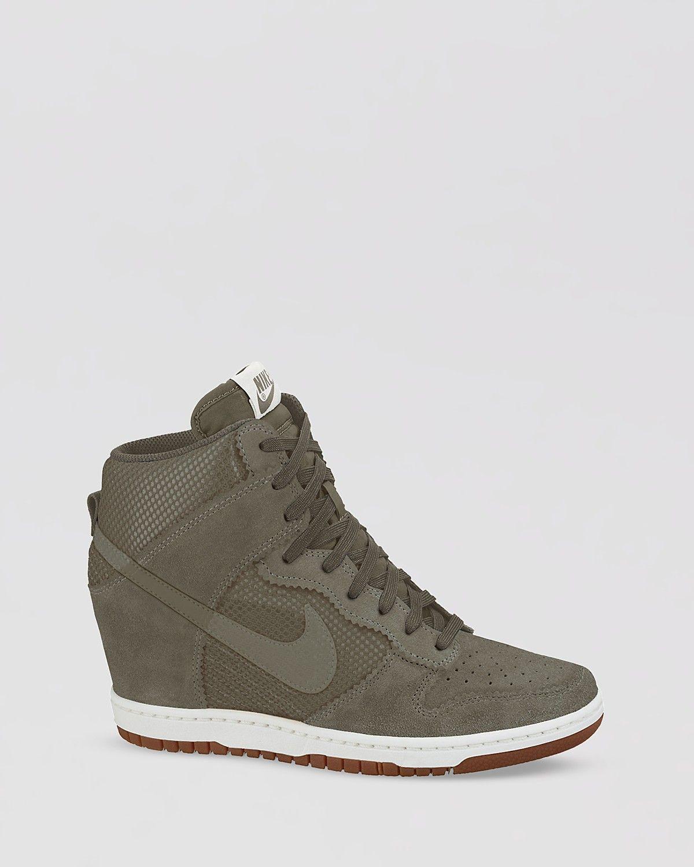 Nike Lace Up High Top Sneaker Wedges- Women s Dunk Sky Hi Mesh ... 18273f5d6ad7