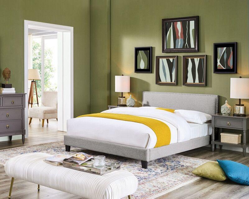 Oah D3001 Sterling Light Gray Linen Like Fabric Queen Low Profile Bed Frame Set Queen Upholstered Bed Bed Frame Sets Solid Wood Platform Bed