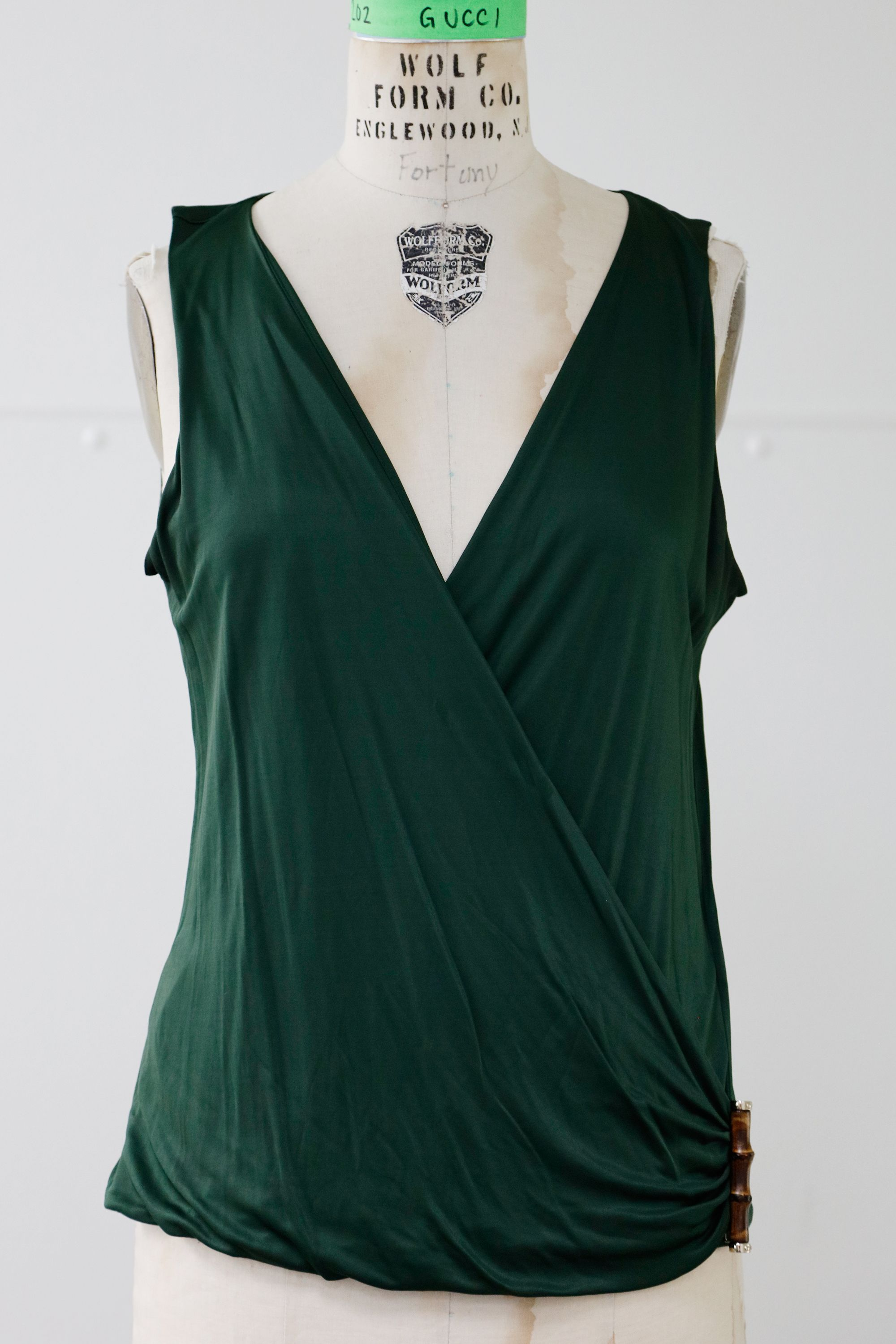 183e8e88f UPPER LEVEL Gucci Forest Green Sleeveless Top #W62500130 | Tops ...