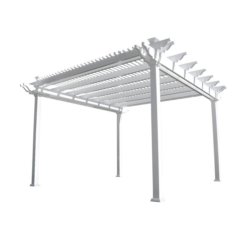 Weatherables Largo 12 Ft X 12 Ft White Double Beam Vinyl Pergola Ywpg Hdb5 12x12 The Home Depot Vinyl Pergola Pergola Wooden Pergola