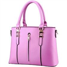 Taro Purple PU Leather Handbag