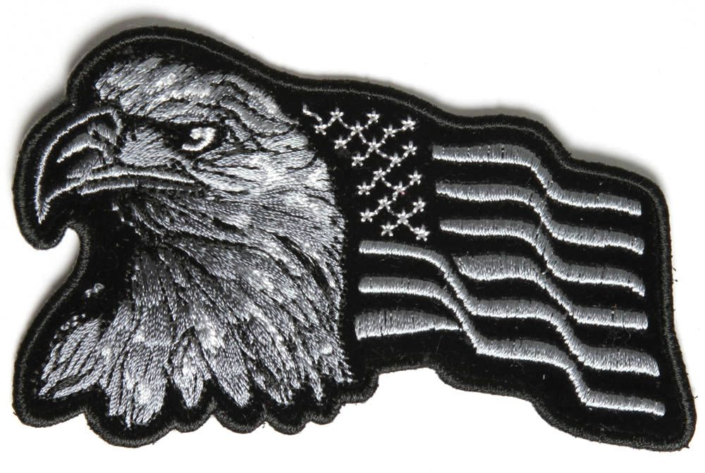 IRON ON PATCH EAGLE WITH WAVING AMERICAN FLAG BLACK /& SILVER