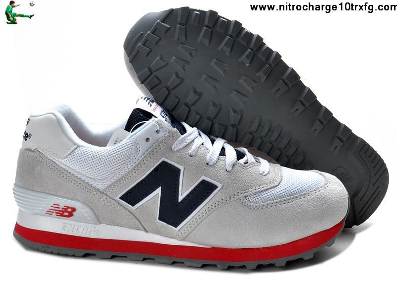 Latest Listing Cheap New Balance 574 Grey White Red Sports Shoes Store