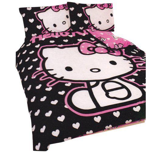 Girls Hello Kitty Hearts Double Duvet Quilt Cover Bedding Set
