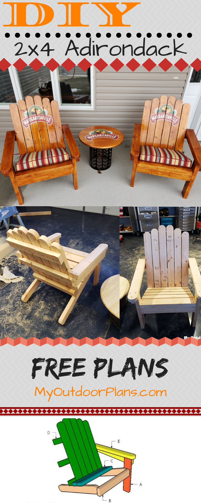 How to Build Adirondack Chairs from 2x4s #woodworkingprojectschair
