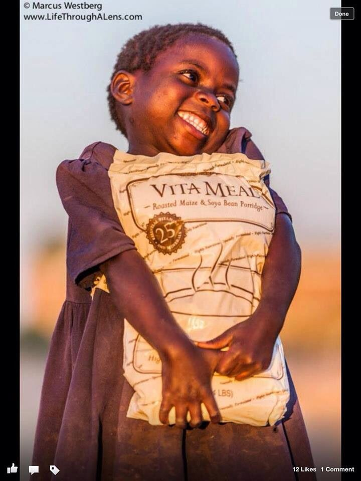 Vitameal complete nutrition for malnourished children.  Feed a child for a month for only £16. Ask me how to donate and help create smiles.